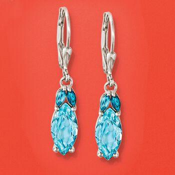 4.00 ct. t.w. Tonal Blue Topaz Drop Earrings in Sterling Silver