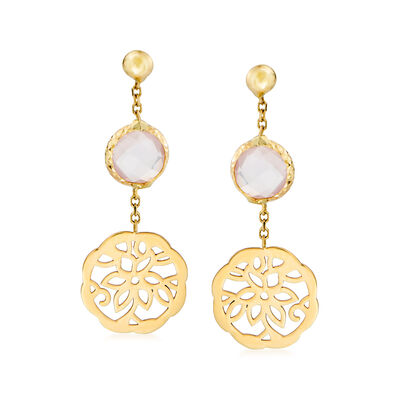 Italian Rose Quartz Floral Drop Earrings in 14kt Yellow Gold, , default