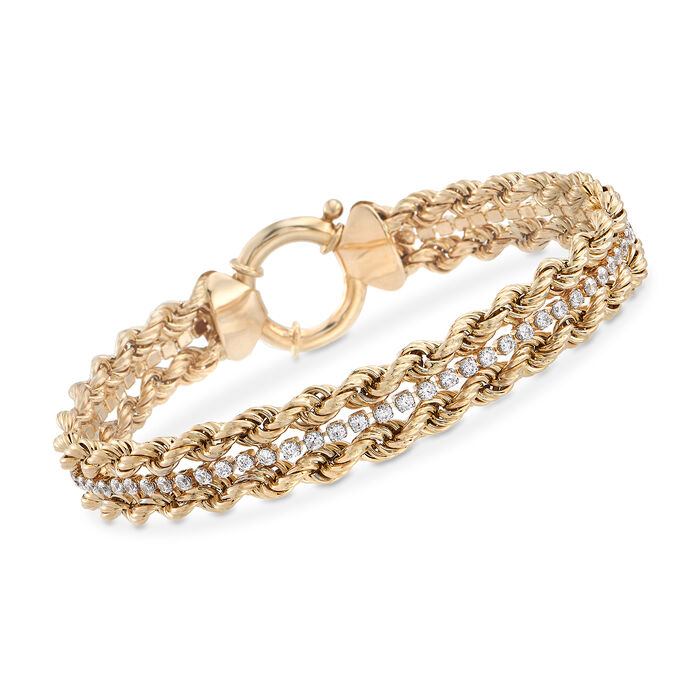 "1.55 ct. t.w. CZ Rope Chain Bracelet in 14kt Yellow Gold. 8"", , default"