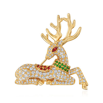 2.60 ct. t.w. CZ, .30 ct. t.w. Simulated Ruby and .10 ct. t.w. Simulated Emerald Reindeer Pin in 18kt Gold Over Sterling, , default
