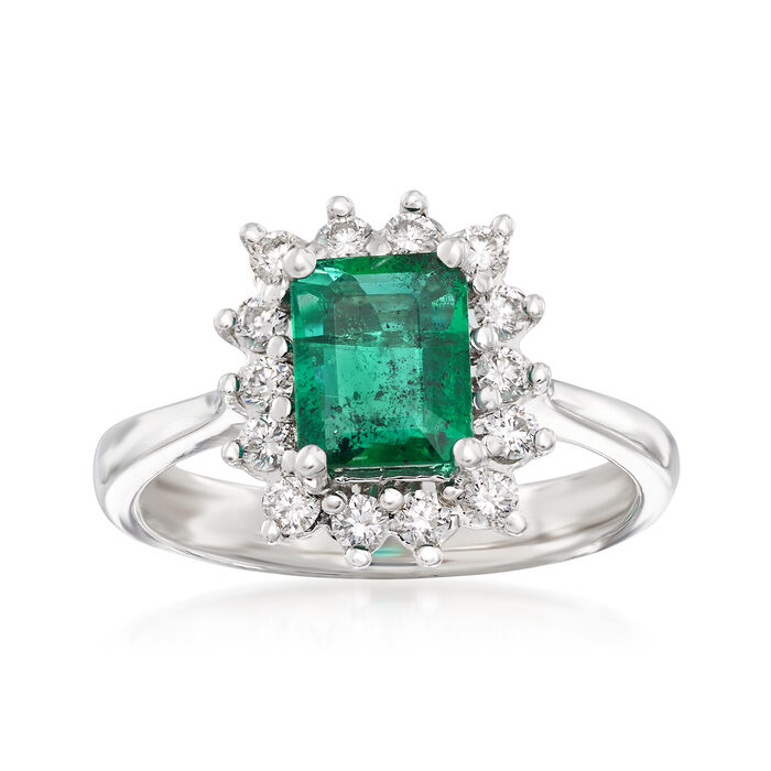 1.30 Carat Emerald and .42 ct. t.w. Diamond Ring in 14kt White Gold, , default