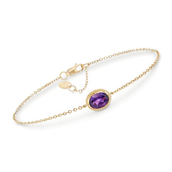 """1.10 Carat Amethyst Bracelet in 14kt Yellow Gold. 7"""""""