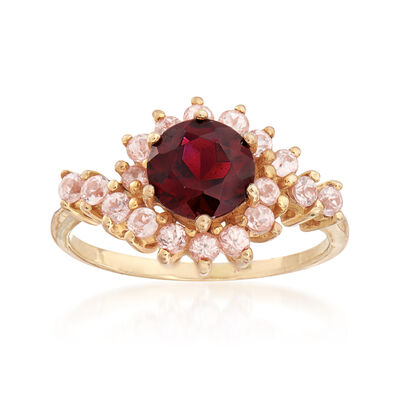 C. 1980 Vintage 1.50 Carat Garnet and .75 ct. t.w. White Topaz Ring in 10kt Yellow Gold, , default