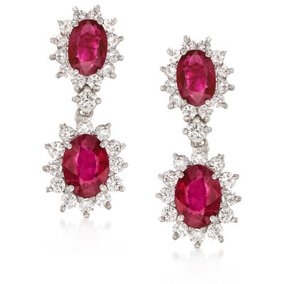 4.20 ct. t.w. Ruby and 1.65 ct. t.w. Diamond Drop Earrings in 14kt White Gold, , default