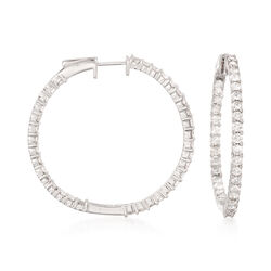 "3.00 ct. t.w. Diamond Inside-Outside Hoop Earrings in 14kt White Gold. 1 3/8"", , default"