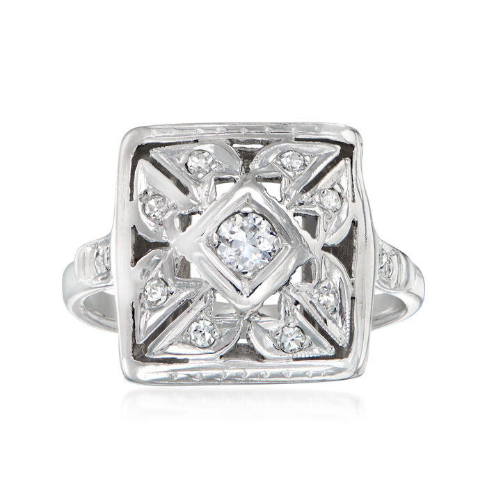 C. 1950 Vintage .20 ct. t.w. Diamond Ring in 14kt White Gold