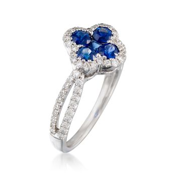 Gregg Ruth .77 ct. t.w. Sapphire and .35 ct. t.w. Diamond Clover Ring in 18kt White Gold, , default