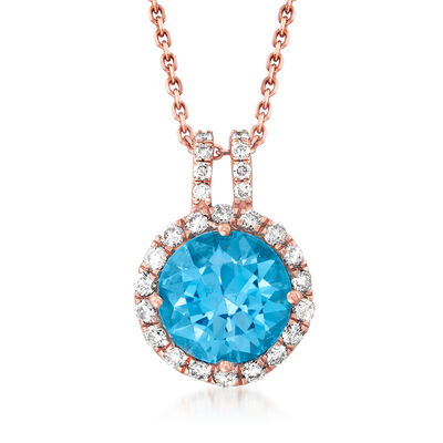 C. 1990 Vintage Tresorra 3.10 Carat Sky Blue Topaz and .38 ct. t.w. Diamond Pendant Necklace in 18kt Rose Gold
