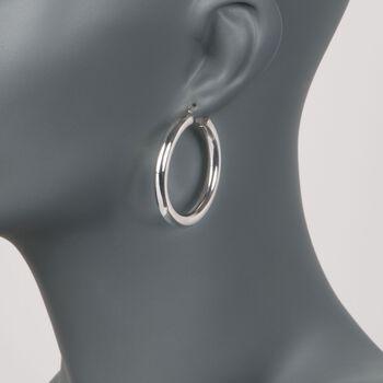 """5mm Sterling Silver Hoop Earrings. 1 5/8"""", , default"""