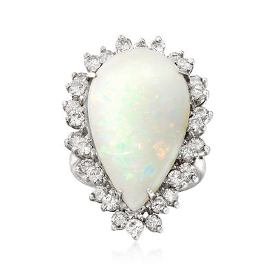 C. 1980 Vintage Opal and 1.50 ct. t.w. Diamond Ring in 14kt White Gold