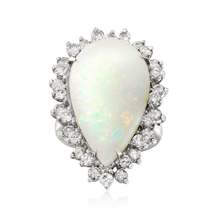 C. 1980 Vintage Opal and 1.50 ct. t.w. Diamond Ring in 14kt White Gold. Size 6.5, , default