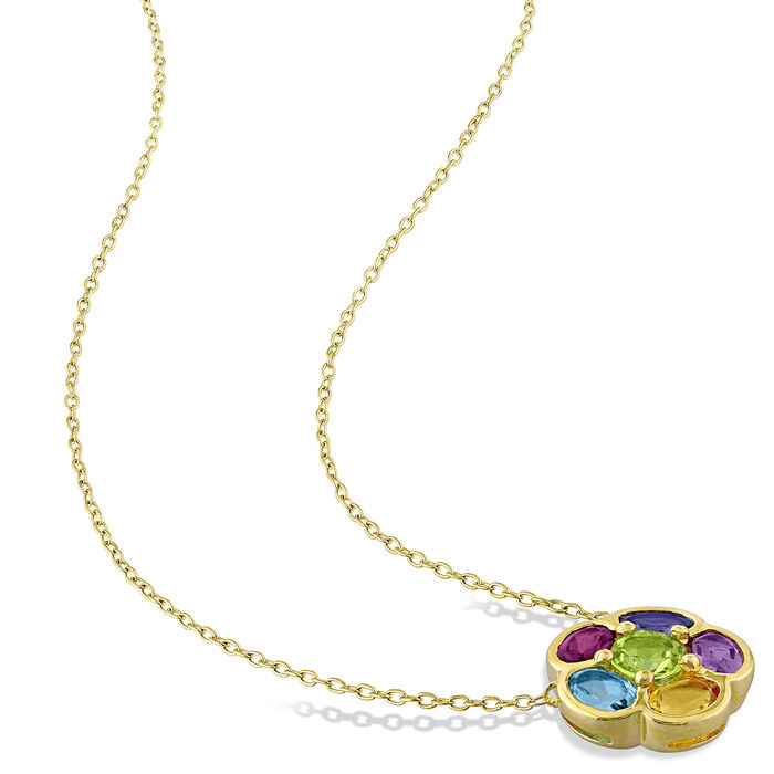 3.20 ct. t.w. Multi-Gemstone Floral Necklace in 18kt Gold Over Sterling