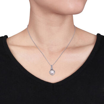 """8-8.5mm Cultured Button Pearl Pendant Necklace with Diamond Accents in Sterling Silver. 18"""", , default"""