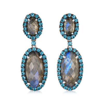 Labradorite and 2.30 ct. t.w. London Blue Topaz Drop Earrings in Sterling Silver