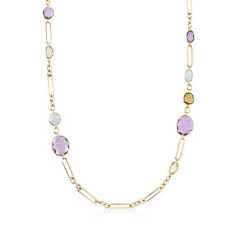 27.70 ct t.w. Multi-Stone Necklace in 18kt Yellow Gold