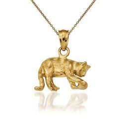 """14kt Yellow Gold Cat Pendant Necklace. 18"""", , default"""