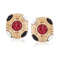 Red and White Agate and Black Onyx Earrings in 14kt Yellow Gold, , default