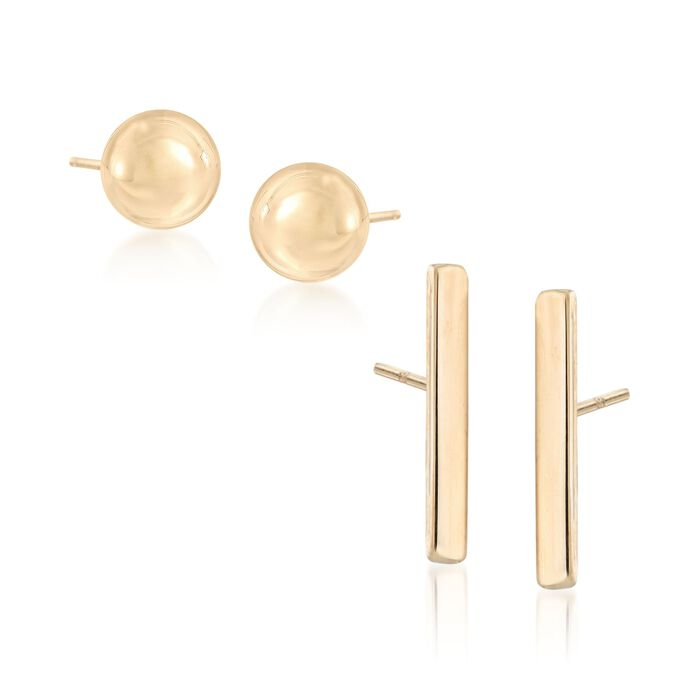 14kt Yellow Gold Jewelry Set: Two Pairs of Stud Earrings, , default