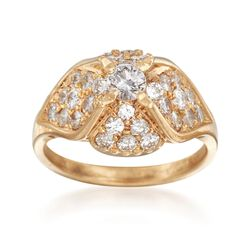 C. 1990 Vintage 1.30 ct. t.w. Diamond Dome Ring in 14kt Yellow Gold. Size 6, , default