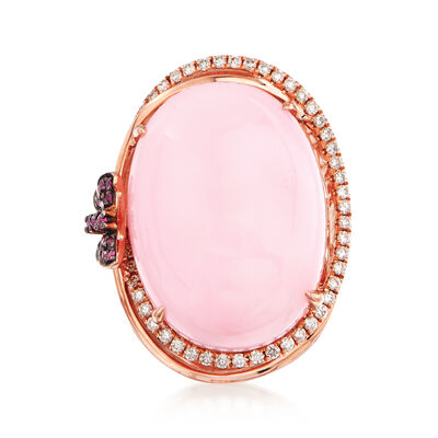 Pink Opal and .32 ct. t.w. Diamond Ring in 14kt Rose Gold