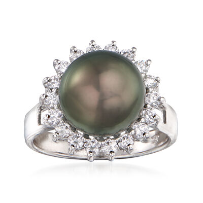11-11.25mm Black Cultured Tahitian Pearl and .67 ct. t.w. Diamond Ring in 14kt White Gold