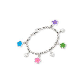 "Child's Italian Sterling Silver and Enamel Flower Charm Bracelet. 5.5"", , default"