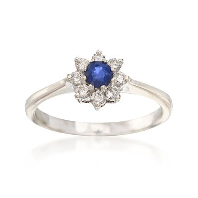 C. 2000 Vintage .25 Carat Sapphire and .25 ct. t.w. Diamond Ring in 14kt White Gold, , default