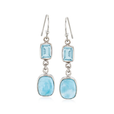 Larimar and 2.50 ct. t.w. Sky Blue Topaz Drop Earrings in Sterling Silver