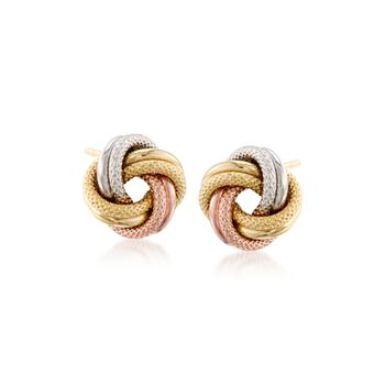 14kt Tri-Colored Gold Love Knot Earrings, , default