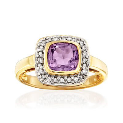 C. 1990 Vintage .90 Carat Amethyst and .15 ct. t.w. Diamond Ring in 14kt Yellow Gold, , default