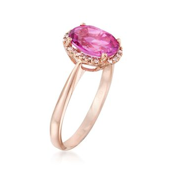 2.50 Carat Pink Topaz Ring With Diamond Accents in 14kt Rose Gold, , default