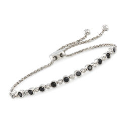 1.00 ct. t.w. Black and White Diamond Bolo Bracelet in Sterling Silver, , default