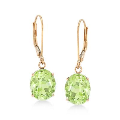 4.50 ct. t.w. Peridot Drop Earrings in 14kt Yellow Gold, , default