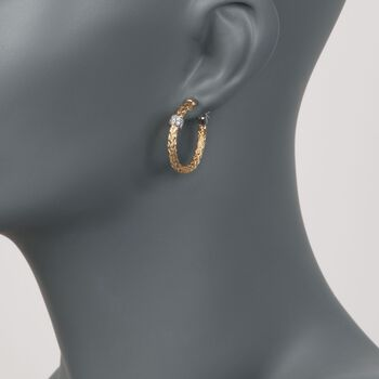 "Charles Garnier ""Torino"" .20 ct. t.w. CZ Small Hoop Earrings in Two-Tone Sterling Silver. 1"", , default"