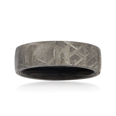 Men's 7mm Black Tungsten Carbide and Meteorite Center Wedding Ring