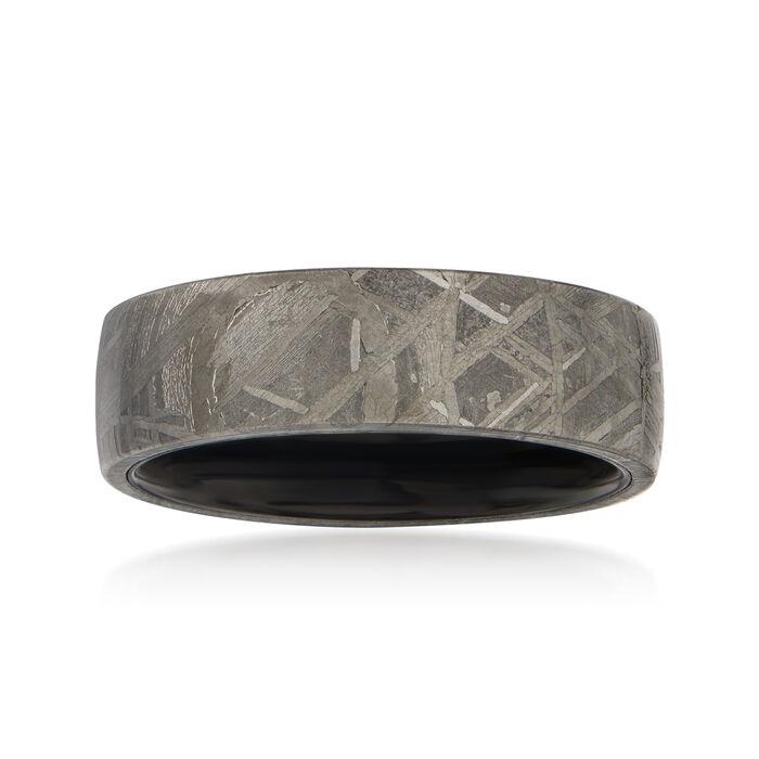 Men's 7mm Black Tungsten Carbide and Meteorite Center Wedding Ring