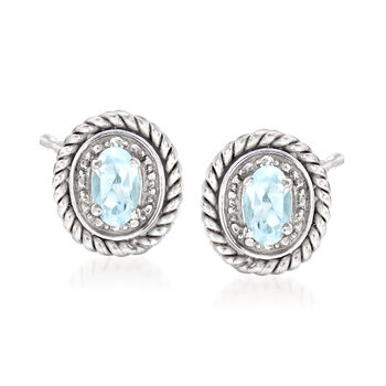 .20 ct. t.w. Aquamarine Frame Earrings With Diamond Accents in Sterling Silver , , default