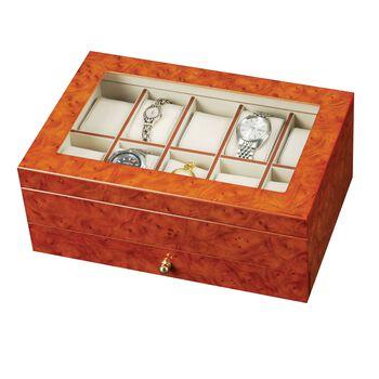 Burlwood Finish Watch Box , , default