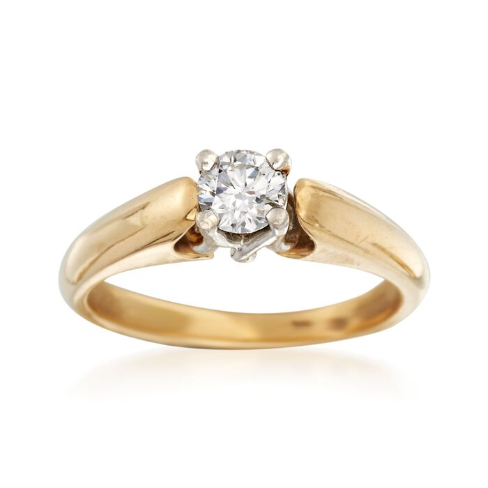 C. 2000 Vintage .44 Carat Diamond Solitaire Ring in Platinum and 18kt Gold. Size 7.25, , default