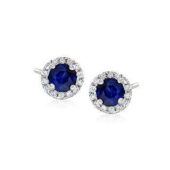 .50 ct. t.w. Sapphire and .15 ct. t.w. Diamond Halo Earrings in 14kt White Gold , , default