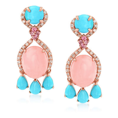 Pink Opal, Turquoise and .31 ct. t.w. Mixed Gemstone Drop Earrings in 14kt Rose Gold, , default