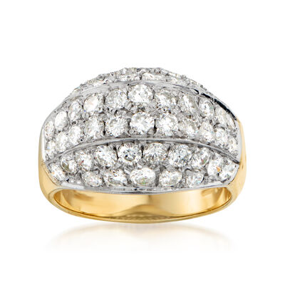 C. 1980 Vintage 2.40 ct. t.w. Diamond Dome Ring in 18kt Two-Tone Gold