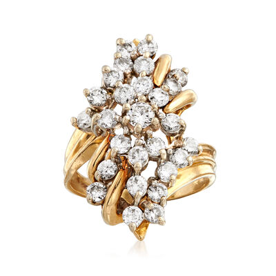 C. 1980 Vintage 1.75 ct. t.w. Diamond Cluster Ring in 14kt Yellow Gold, , default