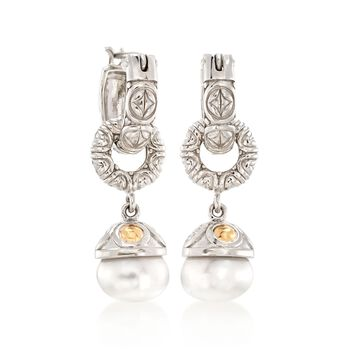 10-10.5mm Cultured Button Pearl Charm Earrings with 14kt Yellow Gold in Sterling Silver, , default