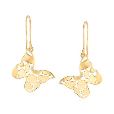 Italian 14kt Yellow Gold Butterfly Drop Earrings