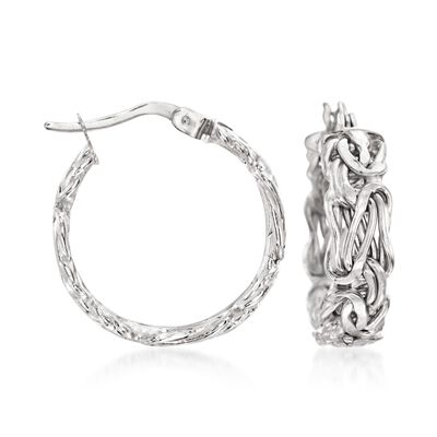 14kt White Gold Flat Byzantine Hoop Earrings, , default