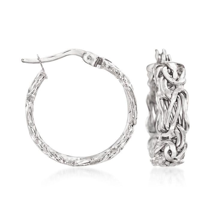 """14kt White Gold Flat Byzantine Hoop Earrings. 3/4"""", , default"""