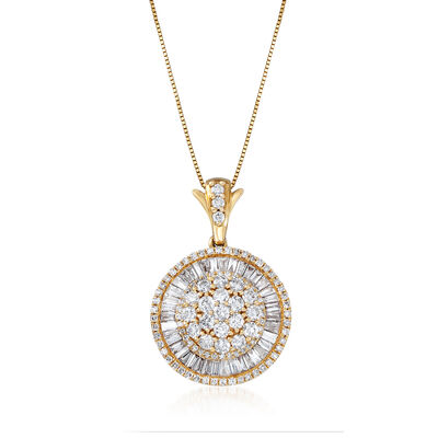 C. 1980 Vintage 2.75 ct. t.w. Diamond Circle Pendant Necklace in 14kt Yellow Gold, , default