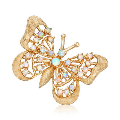 C. 1970 Vintage Opal Butterfly Pin in 14kt Yellow Gold, , default