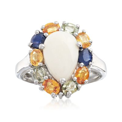 Opal and 2.20 ct. t.w. Multicolored Sapphire Ring in Sterling Silver, , default